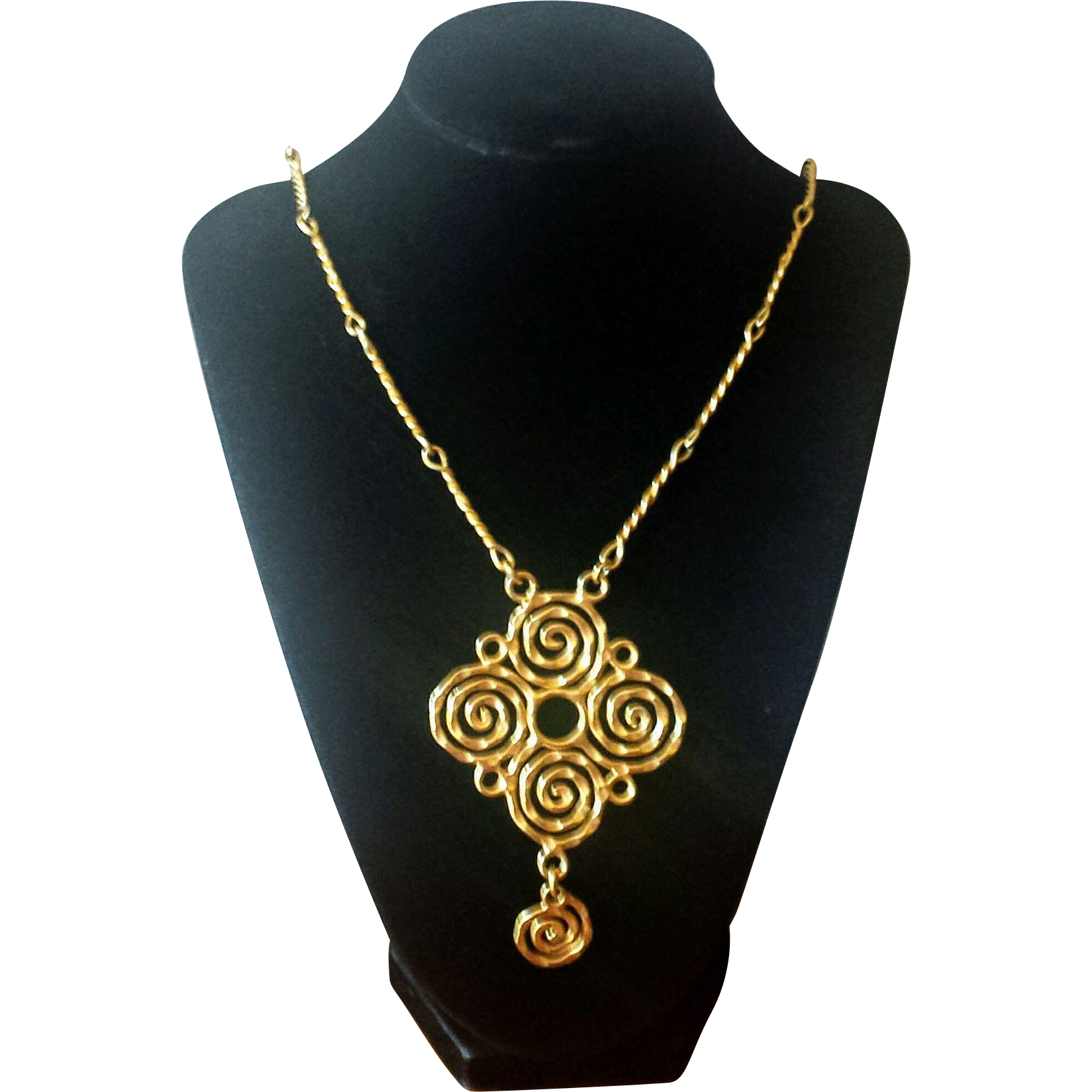 Vintage 1970s Hammered Metal Long Swirl Pendant Necklace