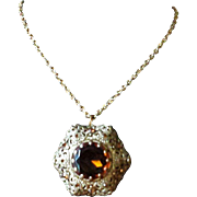Vintage Amber Cut Glass and Rhinestone Filigree Pendant Necklace