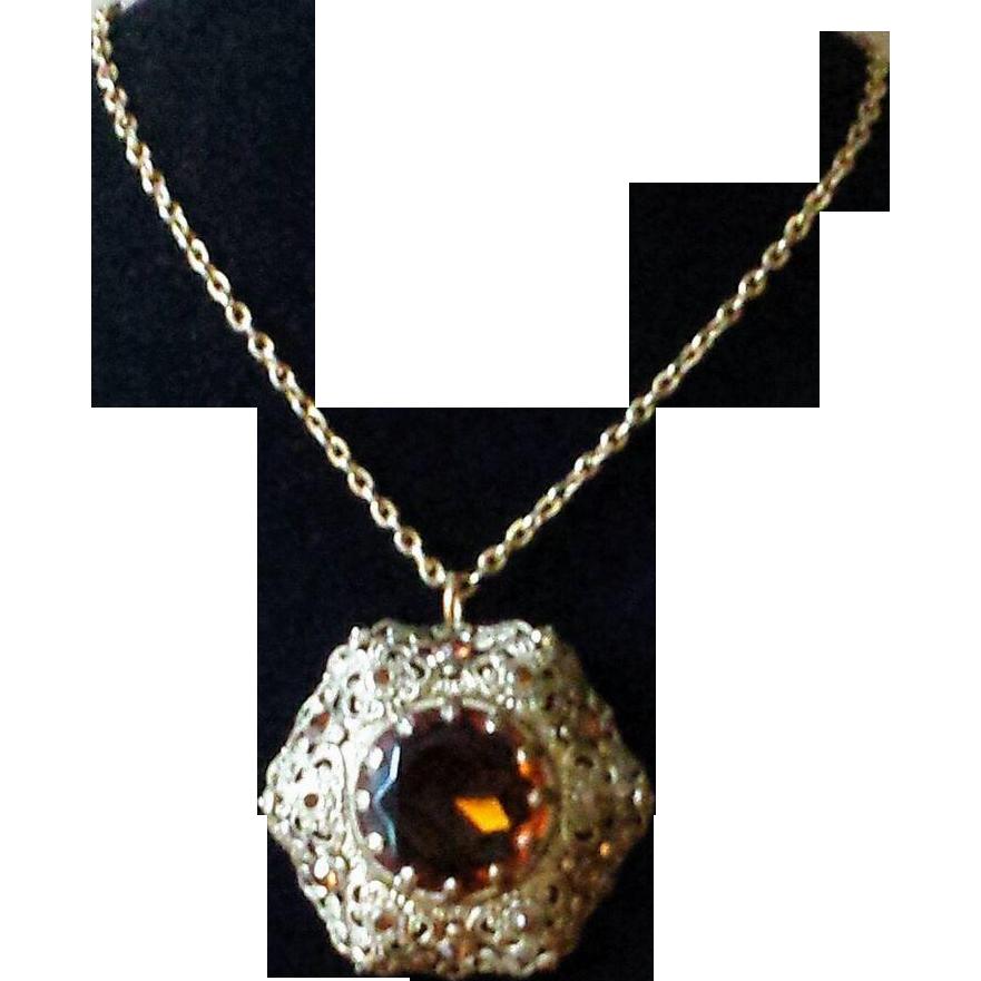 Vintage Amber Cut Glass and Rhinestone Filigree Pendant Necklace
