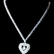 Vintage Rhinestone Heart Necklace with Teardrop Dangle