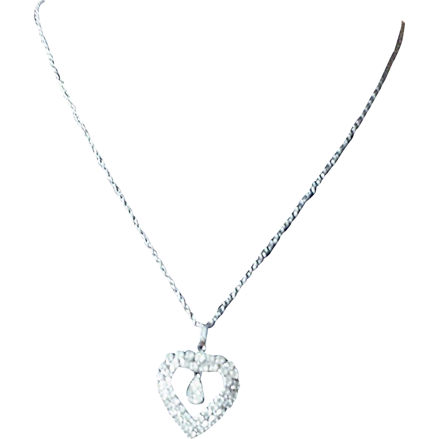 Vintage Rhinestone Heart Pendant Necklace with Teardrop Dangle