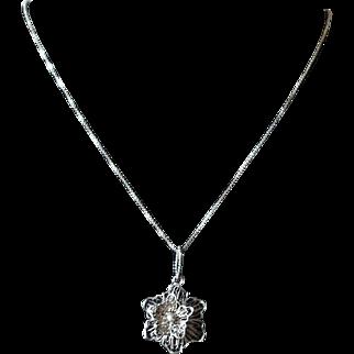 Vintage Sterling Silver Filigree Flower Pendant Necklace