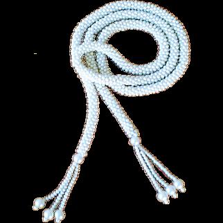 Vintage Cream Beaded Sautoir Tassel Necklace