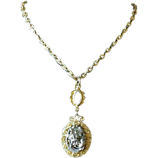 Vintage Floral Two Tone Pendant Necklace