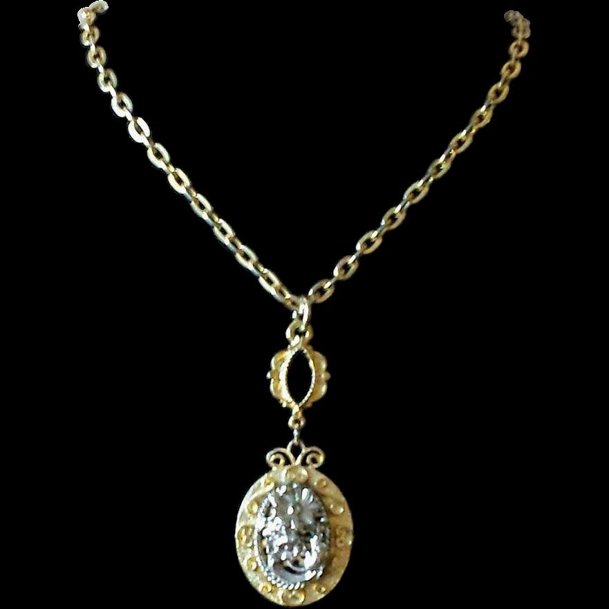Vintage Floral Two Tone Pendant Necklace