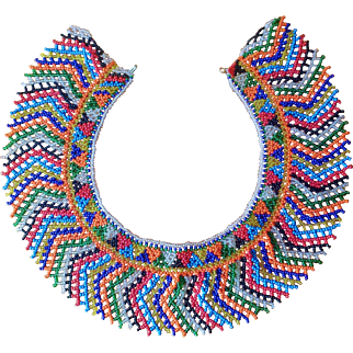 Vintage Multi Color Beaded Collar Necklace