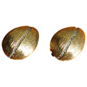 Vintage Nettie Rosenstein Rhinestone and Brushed Goldtone Earrings