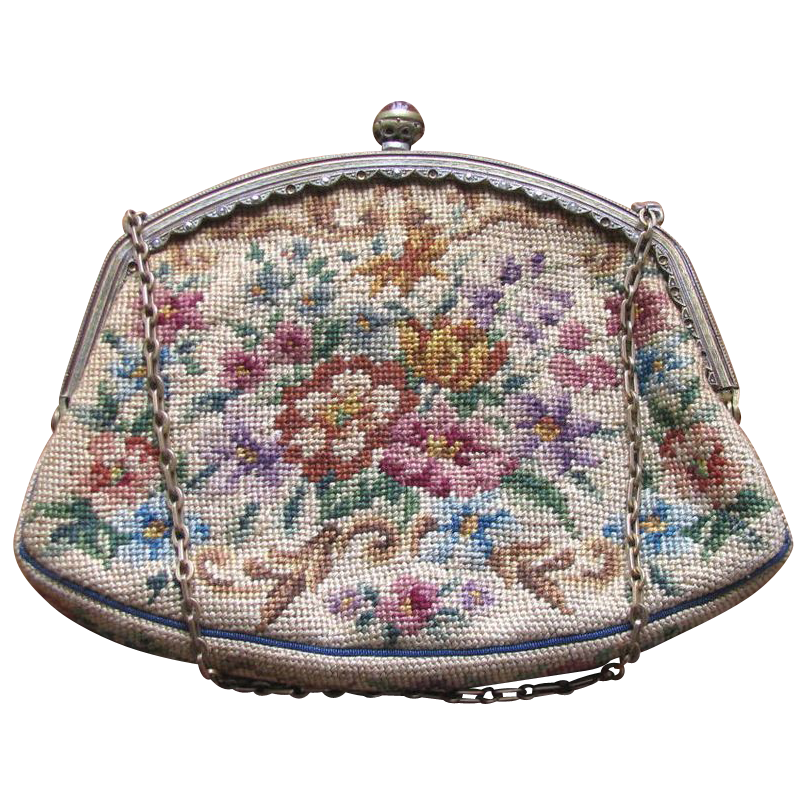 Vintage 1930's Floral Petit Point Needlepoint Purse