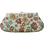 Vintage 1950's Floral Tapestry Print Cocktail Purse