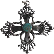 Vintage Sterling Silver and Turquoise Southwestern Zia Sun Symbol Cross Pendant