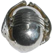 Vintage Taxco Mexico Sterling Silver Photo Ball Locket Pendant
