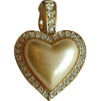 Vintage 1980s Carolee Pearlized Rhinestone Heart Pendant