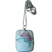 Vintage Samurai Chinese Porcelain Shard Pendant Necklace