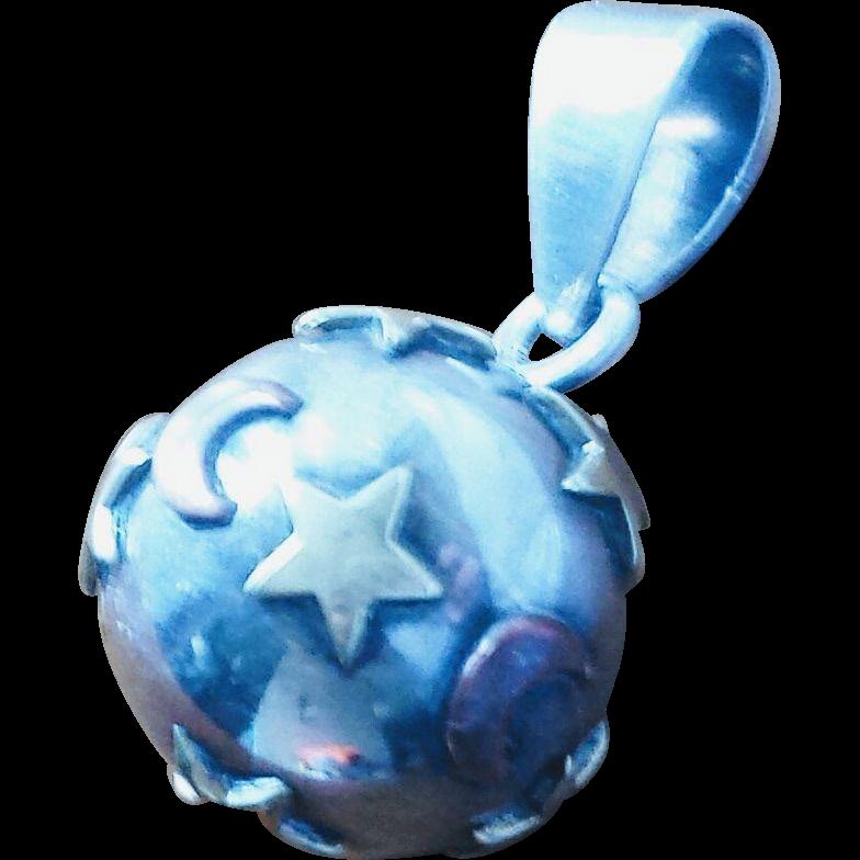 Vintage Mexico Sterling Stars and Moons Harmony Jingle Ball Pendant