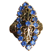 Vintage Blue Rhinestone Filigree Adjustable Statement Ring