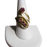 Vintage Pink Rhinestone Bypass Ring in Goldtone.