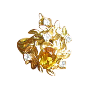 Vintage Crystal and Rhinestone Cocktail Ring with Leaf Design