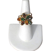 Vintage Amber, Green & Yellow Rhinestone Cocktail Ring
