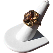 Vintage 1960's Amber Glass Cocktail Ring