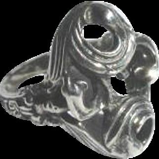 Vintage 1960's Brutalist BAS Sterling Silver Ring