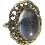 Vintage Mirrored Glass Adjustable Cocktail Ring