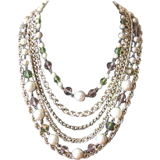 Vintage 1950's Charel Multi Strand Necklace in Goldtone with Crystals and Faux Pearls