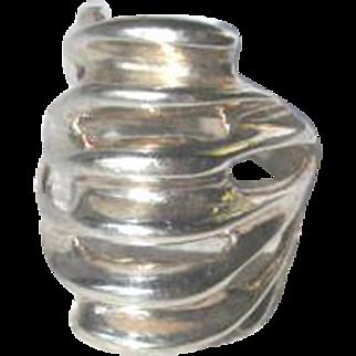 Vintage Modernist Open Work Sterling Silver Ring