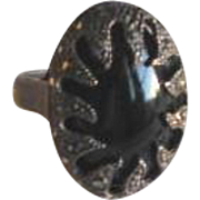 Vintage Wrapped Onyx and Marcasite Ring in Sterling Silver