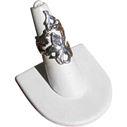 Vintage Open Work Lily Ring in Sterling Silver