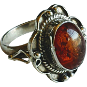 Vintage Amber and Sterling Silver Ring