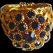 Vintage Purple Rhinestone Cluster Ring Adjustable