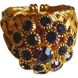 Vintage Purple Rhinestone Cluster Ring Adjustable