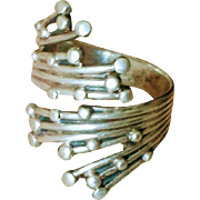 Vintage Modernist Beau Sterling Bypass Ring