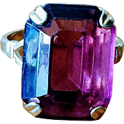 Vintage 1970's Purple Glass Cocktail Ring