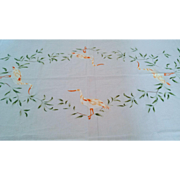 Vintage White Italian Hand Embroidered Leaves and Birds Cotton Tablecloth Set