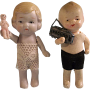 Adorable Pair of All Bisque Dolls with Toys - Red Tag Sale Item