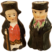 """Two Vintage 1-3/4"""" Miniature Ceramic Men Toby Character Doll Pitchers"""