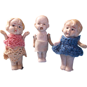 3 Cute All Bisque Dolls Made in Japan - Red Tag Sale Item