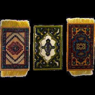 3 Pretty Tiny Antique Dollhouse Rugs
