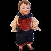 "3-3/4"" Antique All Bisque Kestner German Dollhouse Boy Doll"
