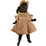 """Darling Imperfect 3-3/4"""" German All Bisque Black Doll with Glass Eyes - TLC"""