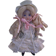 "Darling 3-1/2"" All Bisque Girl in Magnificent Outfit"