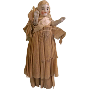 Sweet Little Vintage All Original All Bisque Doll in Crepe Paper Gown