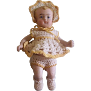 """Adorable 3-3/8"""" German All Bisque Baby in Crocheted Ensemble"""