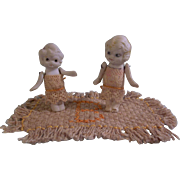 Sweet Pair of Betty Boop Type Dolls and a Dollhouse Rug