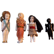 Adorable Group of Teeny Tiny All Bisque Dolls