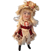 """Beautiful All Bisque 3"""" German Doll in Wonderful Burgundy Dress and Hat ~ Pre-Holiday Sale … Think Christmas!!!"""