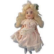 Sweet All Bisque German Girl in Lovely Pale Pink and Lace Dress ~ Pre-Holiday Sale … Think Christmas!!!