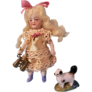 Lovely Antique All Bisque German Doll with a Pair of Metal Binoculars