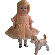 "Gorgeous 6-1/2"" Kestner 208 All Bisque Doll with Porcelain Pet Dog"